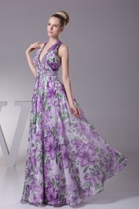 Beading and Ruching Decorate V-neck Long School Anniversary Party Dress