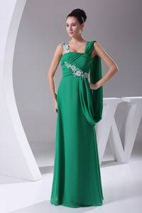 Ruching Green Appliques Long School Anniversary Party Dress with Empire