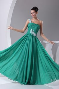 Appliques One Shoulder in Green Empire Long School Winter Party Dress
