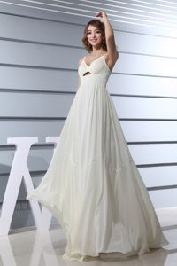 Spaghetti Straps Empire Long School Anniversary Party Dress with Ivory