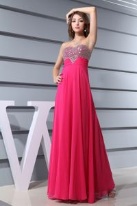 Sweetheart Hot Pink Beading formal Evening School Spring Party Dress
