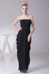 Column Black and Ruching School Anniversary Party Dress with Ruching