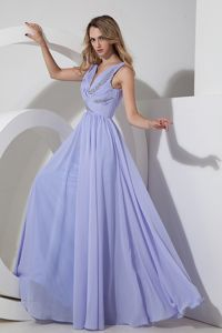 Chiffon Lilac Empire V-neck Floor-length Beading School Spring Party Dress
