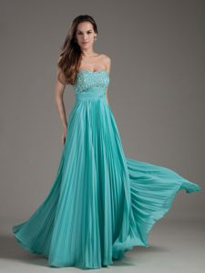 Turquoise Empire Strapless Long Beading School Anniversary Party Dress