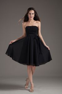 Empire Black Strapless Sash with Bowknot School Autumn Party Dress