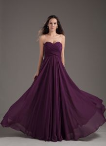School Anniversary Party Dress Empire Dark Purple Ruching and Chiffon