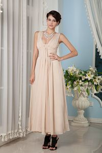 School Spring Party Dress Champagne Empire Straps Chiffon Ruching