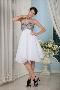 White and Black School Summer Party Dress with Sweetheart Knee-length