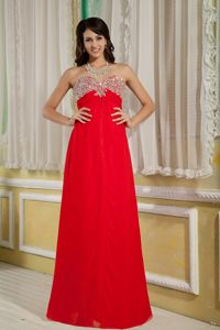 Beaded Decorate Luxurious Red Empire School Anniversary Party Dress