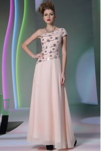 Elegant One Shoulder Floor Length Side Zipper 15th Birthday Dress Baby Pink for Prom and Party with Beading and Appliques