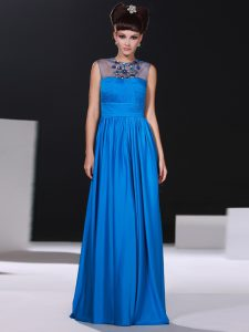 Admirable Scoop Blue Column/Sheath Beading and Ruching Ball Gown Prom Dress Zipper Silk Like Satin Sleeveless Floor Length