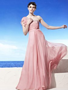 One Shoulder Sleeveless 15th Birthday Dress Floor Length Beading Pink Chiffon