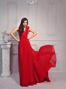 Silk Like Satin One Shoulder Sleeveless Court Train Lace Up Hand Made Flower Sweet 16 Quinceanera Dress in Red