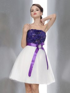 Decent White And Purple Zipper Strapless Beading and Sashes ribbons Quinceanera Gowns Chiffon Sleeveless