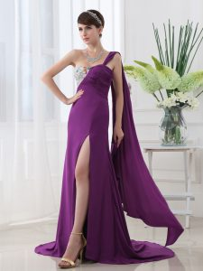 One Shoulder Elastic Woven Satin Sleeveless With Train Quinceanera Dress Brush Train and Beading and Sashes ribbons