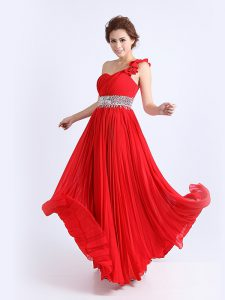 On Sale One Shoulder Sleeveless Chiffon Sweet 16 Dress Beading and Ruching and Pleated Zipper