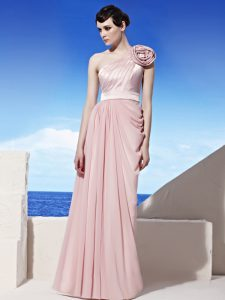 Pink One Shoulder Side Zipper Ruching and Hand Made Flower Quinceanera Dress Sleeveless