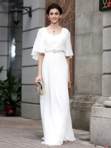 Floor Length Column/Sheath Half Sleeves White Vestidos de Quinceanera Zipper