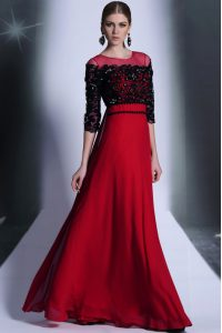 Red And Black 15th Birthday Dress Prom and Party with Beading and Appliques Scoop 3 4 Length Sleeve Clasp Handle