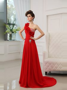 Eye-catching One Shoulder Sleeveless Court Train Beading and Hand Made Flower Zipper Ball Gown Prom Dress