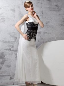 One Shoulder White And Black Sleeveless Floor Length Lace Side Zipper Quinceanera Dress