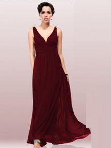 Burgundy Sleeveless Chiffon Zipper Quinceanera Gowns for Prom and Party