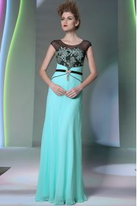 Elegant Scoop Floor Length Column/Sheath Sleeveless Teal Quinceanera Gowns Zipper