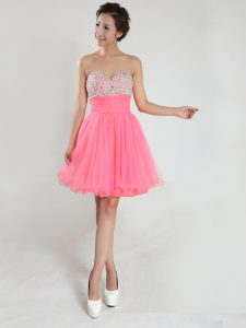 Fine Pink A-line Chiffon Sweetheart Sleeveless Beading Knee Length Lace Up Quince Ball Gowns