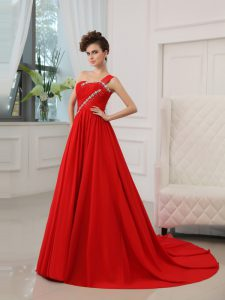One Shoulder Red Zipper Ball Gown Prom Dress Beading and Ruching Sleeveless Court Train