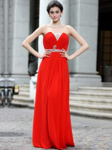 Strapless Sleeveless Zipper Vestidos de Quinceanera Coral Red Silk Like Satin