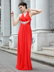 Eye-catching Coral Red Sleeveless Chiffon Zipper Sweet 16 Dress for Prom and Party