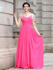 Comfortable V-neck Cap Sleeves Silk Like Satin Quinceanera Gown Beading Zipper