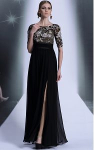 Chiffon Scoop Half Sleeves Zipper Beading and Appliques 15 Quinceanera Dress in Black