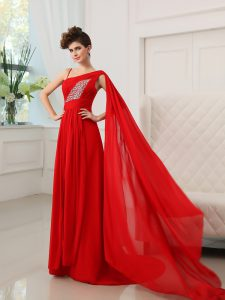 Shining With Train Red Quinceanera Dresses One Shoulder Sleeveless Court Train Zipper
