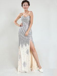Edgy Silver Zipper Sweetheart Sequins Sweet 16 Dresses Sequined Sleeveless Sweep Train