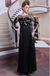 Charming 3 4 Length Sleeve Chiffon Asymmetrical Clasp Handle 15th Birthday Dress in Black with Appliques and Sequins