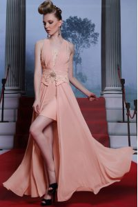 Low Price Floor Length Pink Vestidos de Quinceanera Chiffon Sleeveless Beading and Appliques