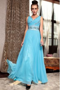 High End Baby Blue Quinceanera Dresses Prom and Party with Beading and Appliques and Ruching V-neck Sleeveless Side Zipper