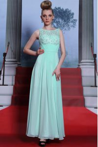Scoop Sleeveless Floor Length Beading and Ruching Side Zipper Quinceanera Gown with Apple Green