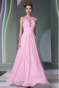 Graceful Rose Pink Sweet 16 Dresses Prom and Party with Beading Halter Top Sleeveless Side Zipper