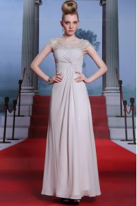 Silver Side Zipper Bateau Beading and Lace and Ruching Vestidos de Quinceanera Chiffon Sleeveless