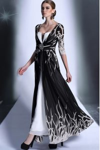 Glorious Empire Quinceanera Gown Black Square Chiffon Half Sleeves Ankle Length Zipper