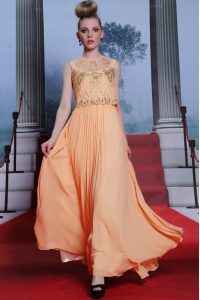Trendy Orange Empire High-neck Sleeveless Chiffon Floor Length Side Zipper Beading and Appliques Quince Ball Gowns