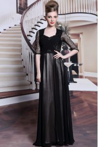 Black Empire Chiffon V-neck Half Sleeves Lace and Pleated Floor Length Zipper Sweet 16 Quinceanera Dress