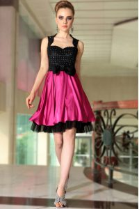 Pink And Black Side Zipper Quince Ball Gowns Beading Sleeveless Knee Length
