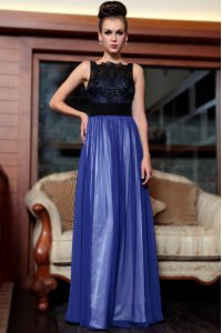 Blue And Black Quinceanera Dress Prom and Party with Beading and Appliques Square Sleeveless Side Zipper