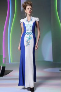 Lovely Cap Sleeves Floor Length Embroidery Zipper Sweet 16 Dresses with Blue And White