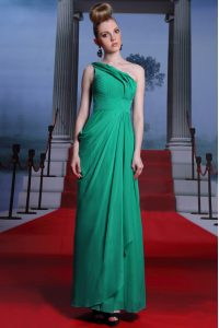 Shining Turquoise Side Zipper One Shoulder Beading and Ruching Quince Ball Gowns Chiffon Sleeveless