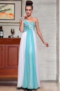 Glittering Blue And White Sleeveless Beading and Sequins and Hand Made Flower Ankle Length Quince Ball Gowns