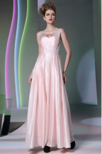 Free and Easy Scoop Baby Pink Silk Like Satin Zipper 15th Birthday Dress Sleeveless Floor Length Beading